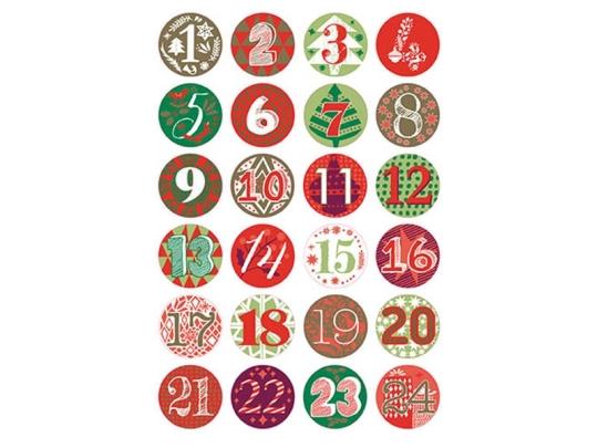 badges-pour-calendrier-de-l-avent-rouge-vert